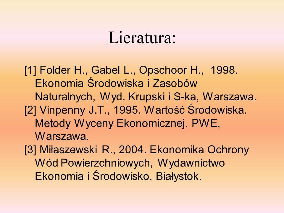 Lieratura: [1] Folder H., Gabel L., Opschoor H., 1998. Ekonomia Środowiska i Zasobów Naturalnych, Wyd. Krupski i S-ka, Warszawa.